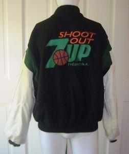 7Up Shoot Out Logo Wool Leather Letterman Varsity Jacket Mens sz XL USA Identity
