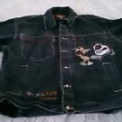 Raw Blue ABR All Bad Reversed Mens black denim jean Jacket Large embroidered