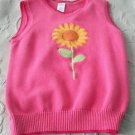 2011 Gymboree Sleeveless Knit Sweater Vest Embroidered Sunflower Girls L 10 12