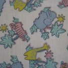 Zoo Wild Animals Cartoon Kids Novelty Woven Cotton Fabric 2 yds Elephants Tigers