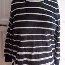 Womens L J.Crew 100% Merino Wool Knit Sweater Striped 3/4 Sleeve Scoop Neck Mint