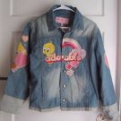 Girls NWT Looney Tunes Tweety 100% Adorable Embroidered Denim Jean Jacket XL