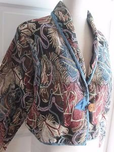 NWT Lifestyle Tapestry Horse Head Equestrian Print Shawl Collar Sweater Jacket M
