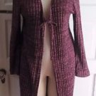Los Angeles Crochet Knit Long Maxi Open Front Wrap Swing Sweater Jacket Coat M