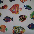 VIP Cranston Tropical Fish Beach Colorful White Background Novelty Cotton Fabric