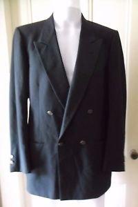 Pierre Cardin Double Breasted Gold Logo Button Wool Sportcoat Jacket Blazer USA