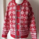 Vintage Casual Corner lambswool lined cardigan pewter/silver hook buttons Red XL
