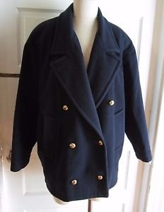 Womens Mackintosh 100% Wool Double Breasted Overcoat Peacoat Jacket 6 Navy USA