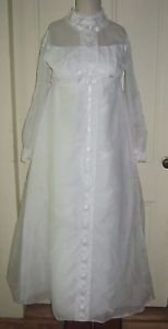 50's 60's Vintage Union Made Wedding Gown Floor Length Dress Tulle Lace 9 XS S