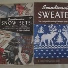 Scandinavian Sweaters Snow Sets Knitting Manual Knit Patterns Vintage Lot 2 40s
