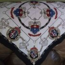 Vintage Silky Satin Weimann Scarf Head Wrap Shawl Royal Crest Japan 31 x 29