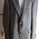 HARRIS Tweed 100% Wool JACKET Blazer Sport Coat Gray Herringbone VINTAGE Large