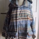 Cambridge Dry Goods Striped Oversized Hooded Leather Accents Barn Chore Coat L