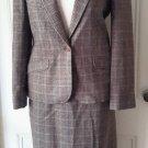 Womens Miss Pendleton Wool Houndstooth Plaid Blazer Jacket Skirt Suit 9 10 USA