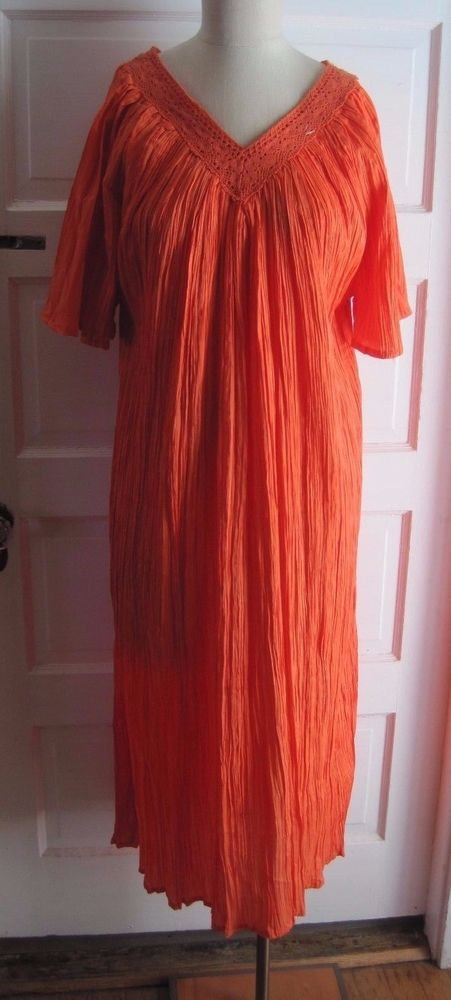 NWOT Flame Orange Wrinkle Crinkle MuuMuu Patio Lounger House Dress Sleepwear OS
