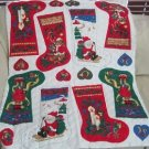 """Lot 4 Teddy Bears Santa 15.5"""" Christmas Stocking Quilted Fabric Craft Kit Panels"""