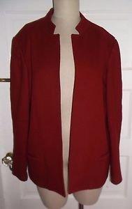 Vintage Womens Hannington Boston Open Front Woven 100% Wool Jacket Blazer L