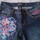 Ed Hardy Brand Jeans Denim Womens size 25 blue embroidered Love Kills Slowly Don