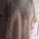 Womens Kirra sz M Crochet Fishnet Mesh Batwing VNeck Cape Style Shirt Cover Up