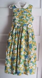 Vintage Girls 7 Jayne Copeland Pleated Floral Midi Tea Party Tie Waist Dress