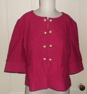 Womens XL Ann Taylor Loft Boiled Wool Button Up 3/4 Sleeve Blazer Jacket Hot pnk