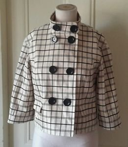 PerSe Cropped Plaid Double Breasted Stand Up collar Jacket Blazer Womens size 4