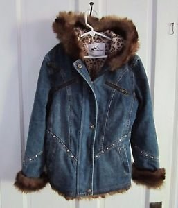Girls KC Collections Hooded Fur Trim Embellished Denim Blue Jean Jacket Kids M