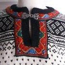 Womens Dale of Norway 100% Wool Nordic Fair Isle Norwegian Pewter Clasp Sweater