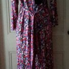 Vintage Vanity Fair Petites Floral Maxi Wrap Tie Tricot Satin Robe Womens S USA