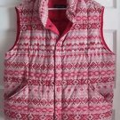 Lands End Nordic Fair Isle Aztec Goose Down Quilted Puffer Vest Womens M 10 12