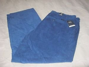 NWT Izod Flat Front Tailgate Cotton Corduroys Bright Blue Skittles Colors Mens