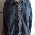 Womens RXB Denim Blue Jean Jacket XL Ruffled Front Lapel Collared Full Button Up