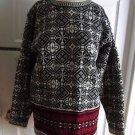 Womens J.Crew 100% Wool Knit Nordic Fair Isle Snowflake Crew neck Sweater M Red