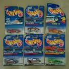 NOS 1990's Hot Wheels Mattel Lot of 6 New on Card Tattoo Ferrari Pontiac Salsa