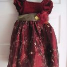 Girls Jenny & Me Velvet Embroidered Tulle Midi Party Holiday Dress 4 Gold Maroon