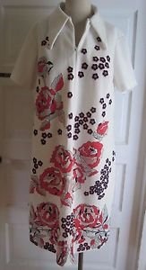 Vintage 60s 70s Mod Marlene Pointed Collar Zip Up Floral House Dress Womens 20.5
