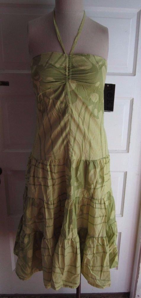 Nwt Marimekko Lavonne Screen Print Halter Boho Summer Sundress Dress Womens 8 36
