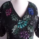 Stenay Colorful Heavily Sequined Beaded Evening Formal Cocktail Blouse Top S