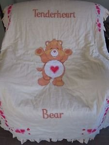 Care Bears Twin Comforter Bedspread Gingham Checked Crossstitch Needlepoint 80s