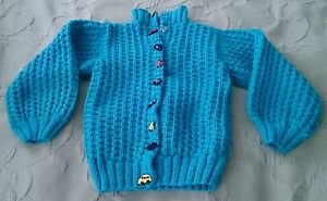 Boys Handmade Knit Full Snap up cars trains Rockets buttons sweater size 3T Blue