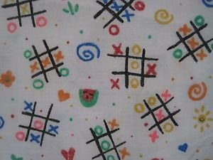 Kids Stuff Lisa Williams Tic Tac Toe Doodling Novelty Woven Cotton Fabric 2 yds