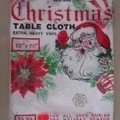 Vintage Mid Century Vinyl Christmas Tablecloth Holly Wreaths Bells Horn 52x70