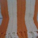 Vintage Crocheted Ripple Striped 84 X 59 Hand Made Fringed Afghan Orange Cream