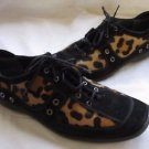 STUART WEITZMAN CHIC RICH BROWN SUEDE LEOPARD CHEETAH PONY HAIR LACE UP LOAFER 7