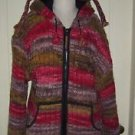 Kyber Outerwear Fleece Lined Hooded Zip Up Wool Knit Sweater Jacket Womens L Hat
