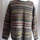 Vintage Mens AE American Eagle L Sweater Chunky Cable Knit Striped Nordic Cosby