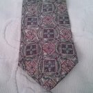 "Bill Blass 100% Silk necktie 4"" w 58"" L Squares Circles Geometric"