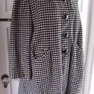 Vintage Womens Houndstooth Plaid Winter Wool Swing Coat Mod Glam Hollywood sz L