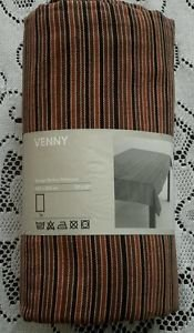 "Ikea of Sweden Venny Design Barbro Petersson 57"" x 87"" Brown Striped Tablecloth"