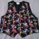 1994 LOONEY TUNES EASTER EGGS black womens OS satin vest bugs bunny tweety Taz